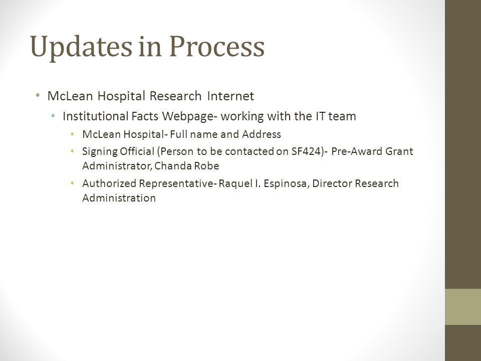 Updates in Process McLean Hospital Research Internet