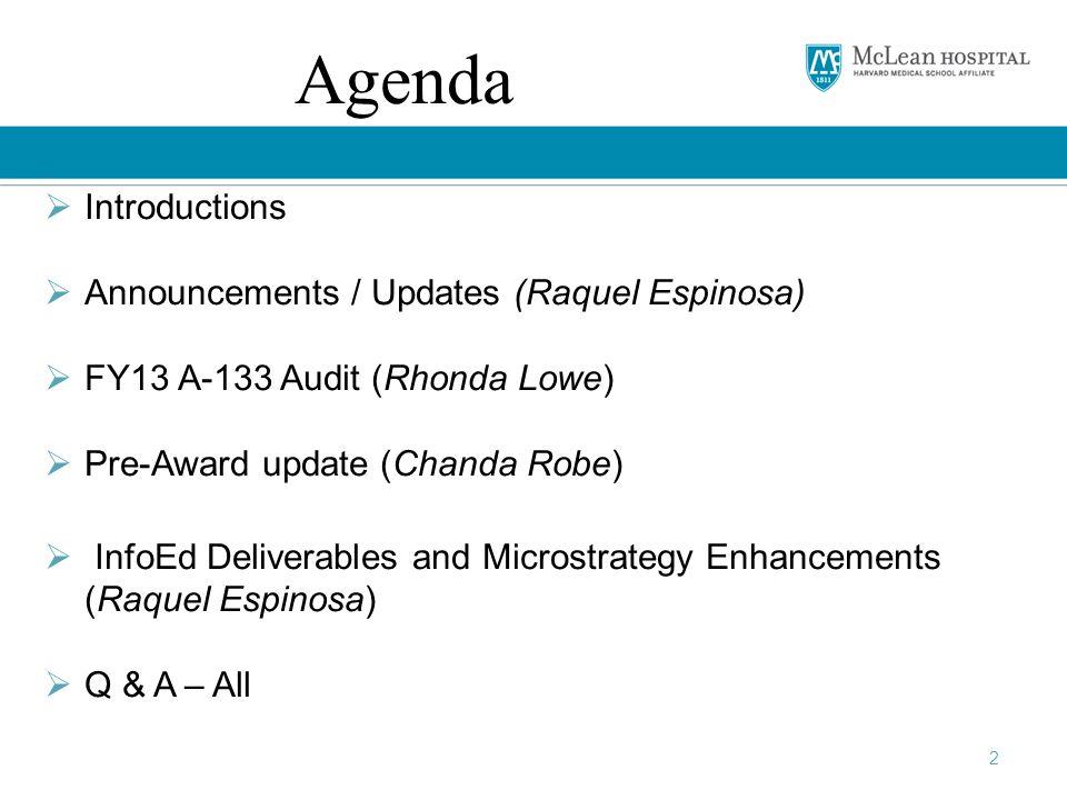 Agenda Introductions Announcements / Updates (Raquel Espinosa)