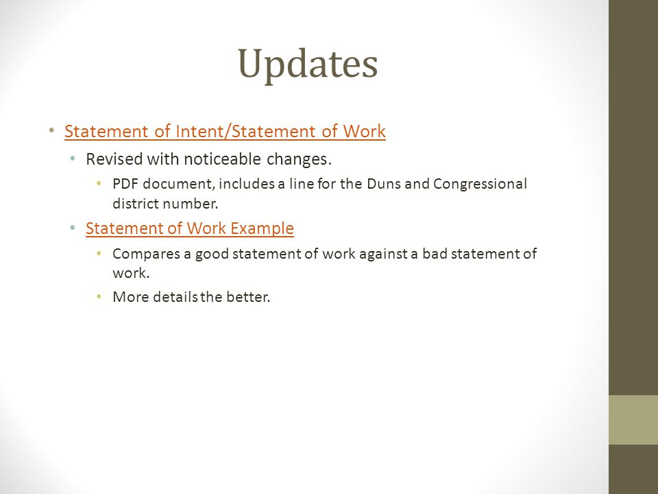 Updates Statement of Intent/Statement of Work