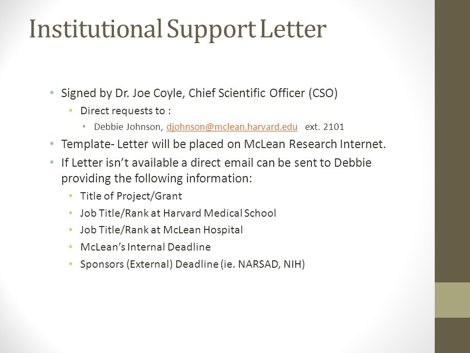 Institutional Support Letter