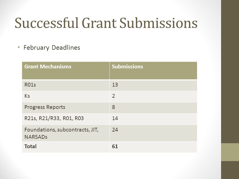 Successful Grant Submissions