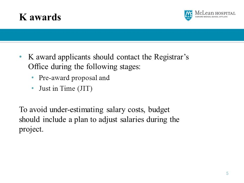 K awards K award applicants should contact the Registrar's Office during the following stages: Pre-award proposal and.