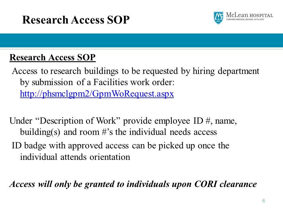 Research Access SOP Research Access SOP