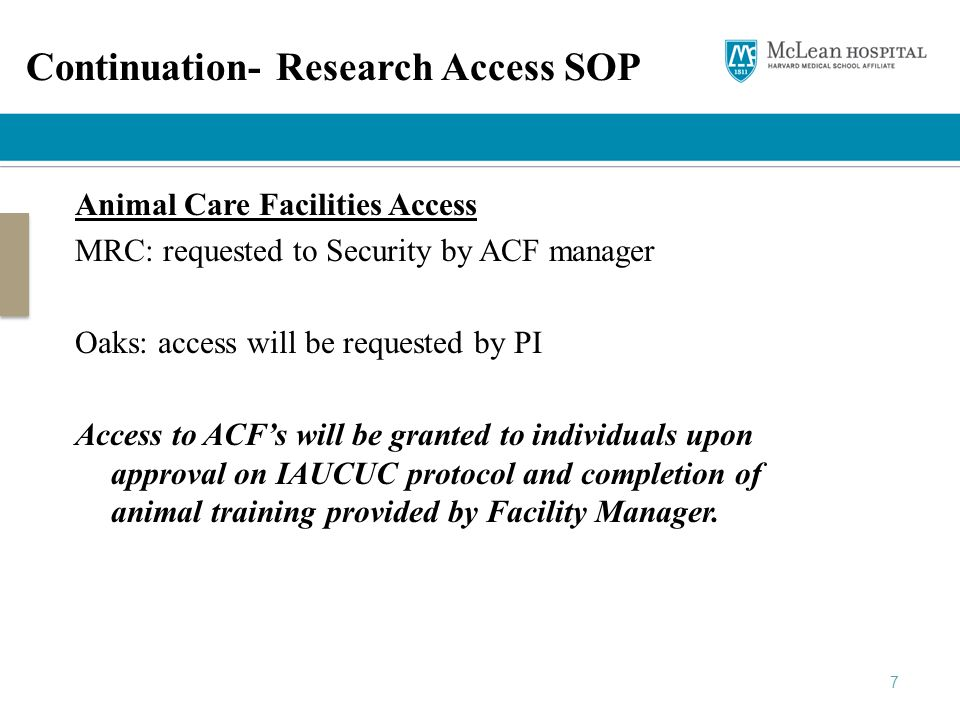 Continuation- Research Access SOP