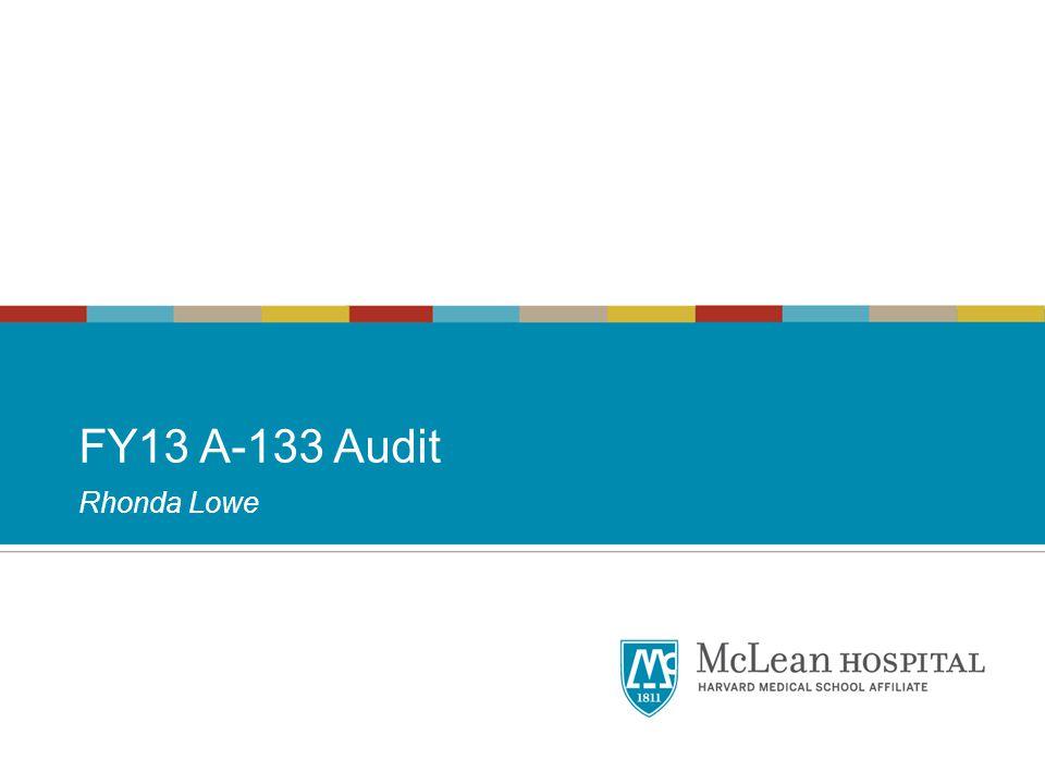 FY13 A-133 Audit Rhonda Lowe