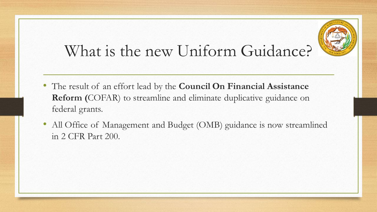 What is the new Uniform Guidance
