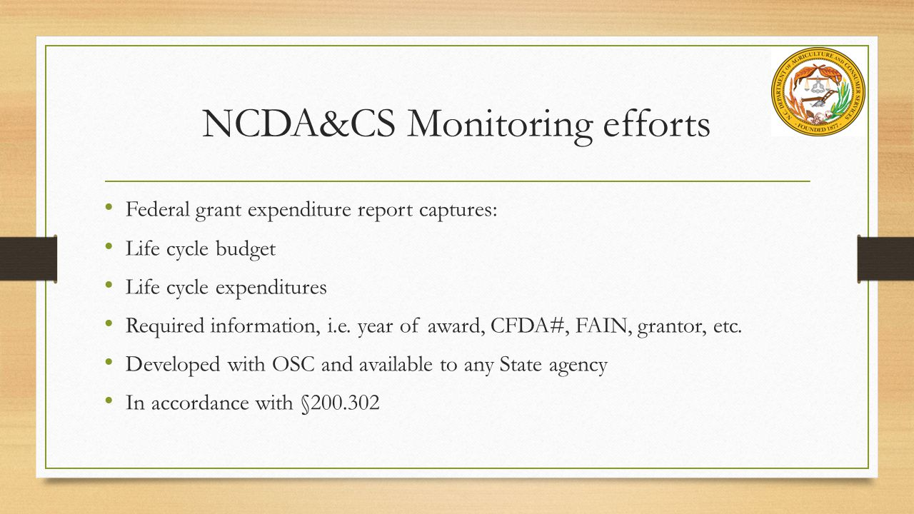 NCDA&CS Monitoring efforts
