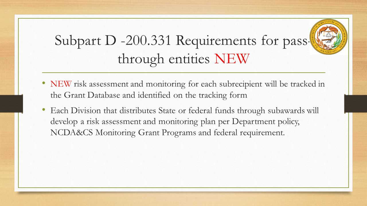 Subpart D -200.331 Requirements for pass-through entities NEW