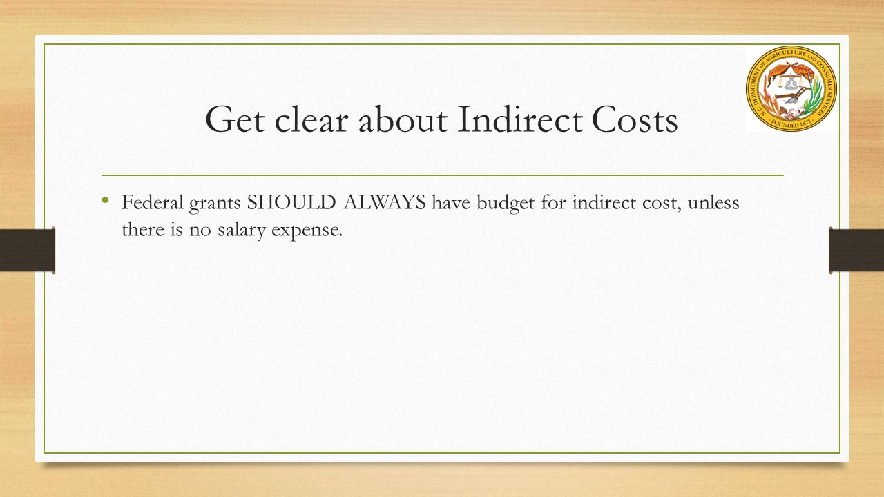 Get clear about Indirect Costs