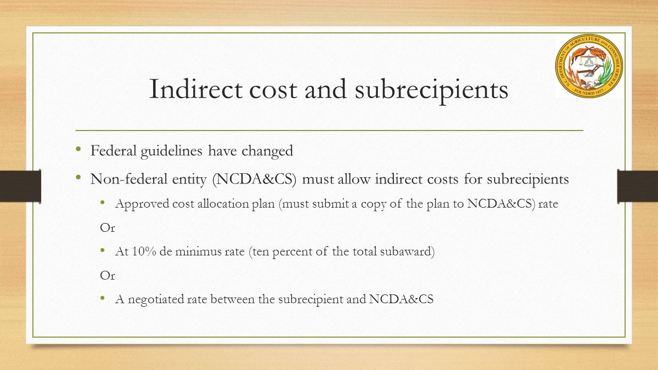 Indirect cost and subrecipients