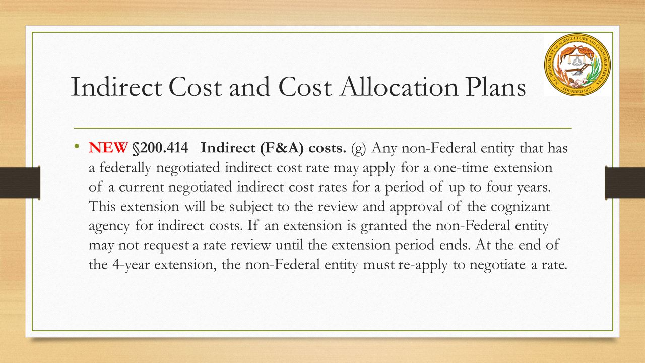 Indirect Cost and Cost Allocation Plans