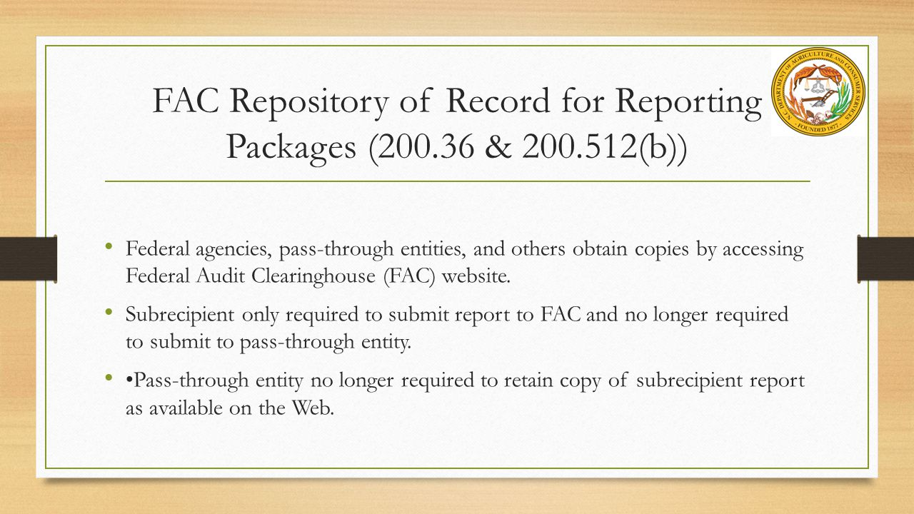 FAC Repository of Record for Reporting Packages (200.36 & 200.512(b))