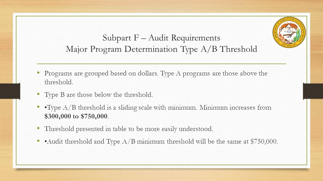 Subpart F – Audit Requirements Major Program Determination Type A/B Threshold