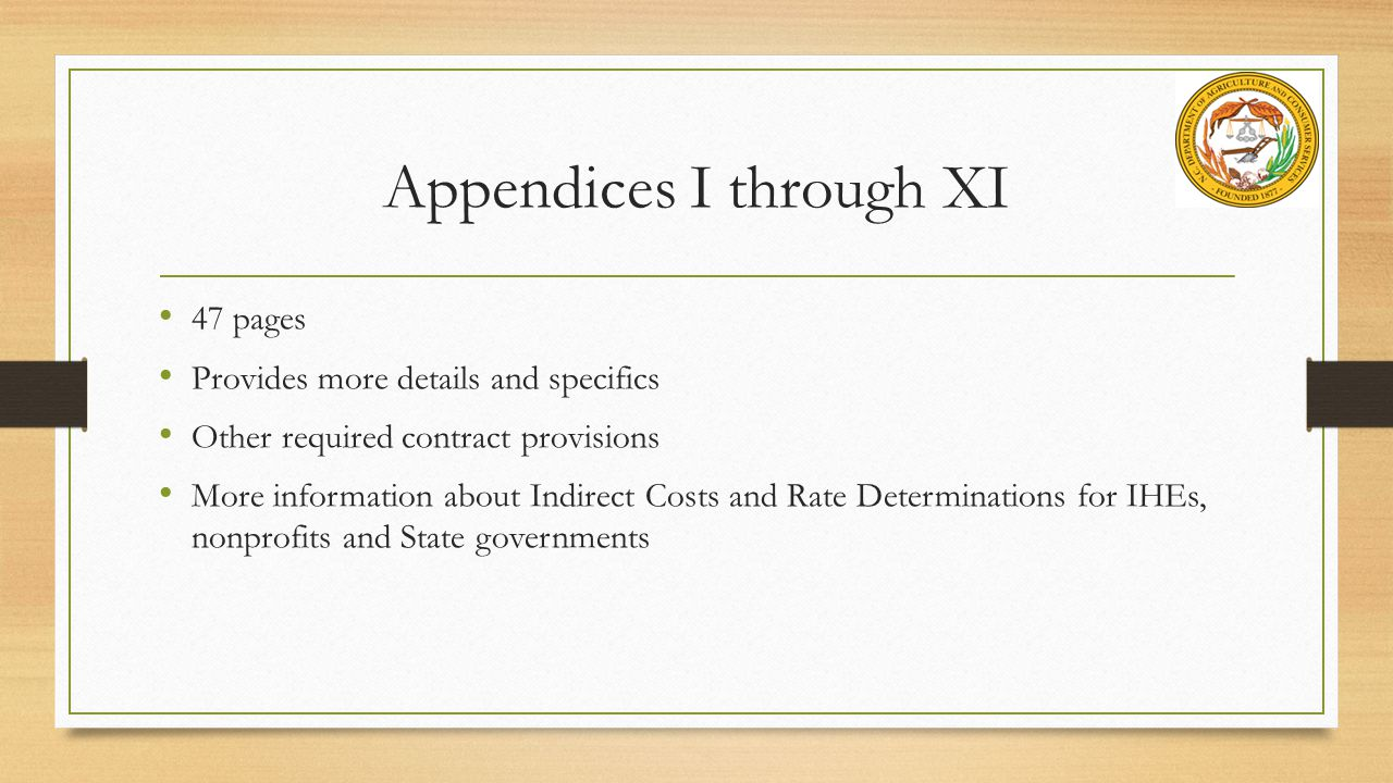 Appendices I through XI