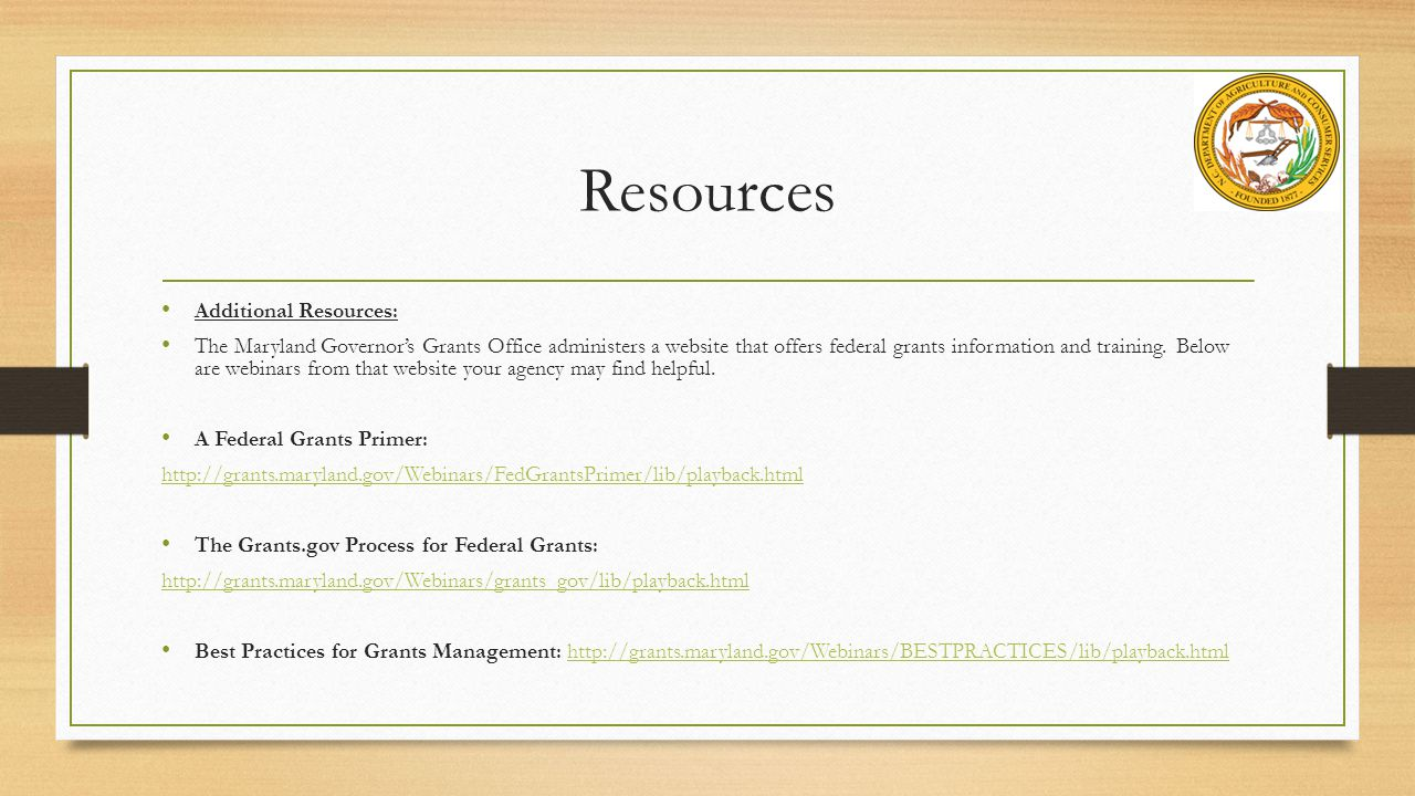 Resources Additional Resources: