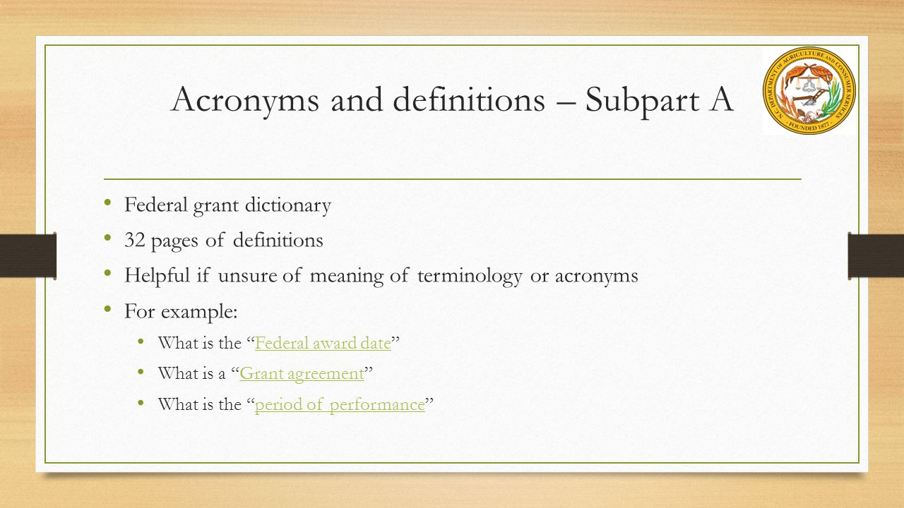 Acronyms and definitions – Subpart A