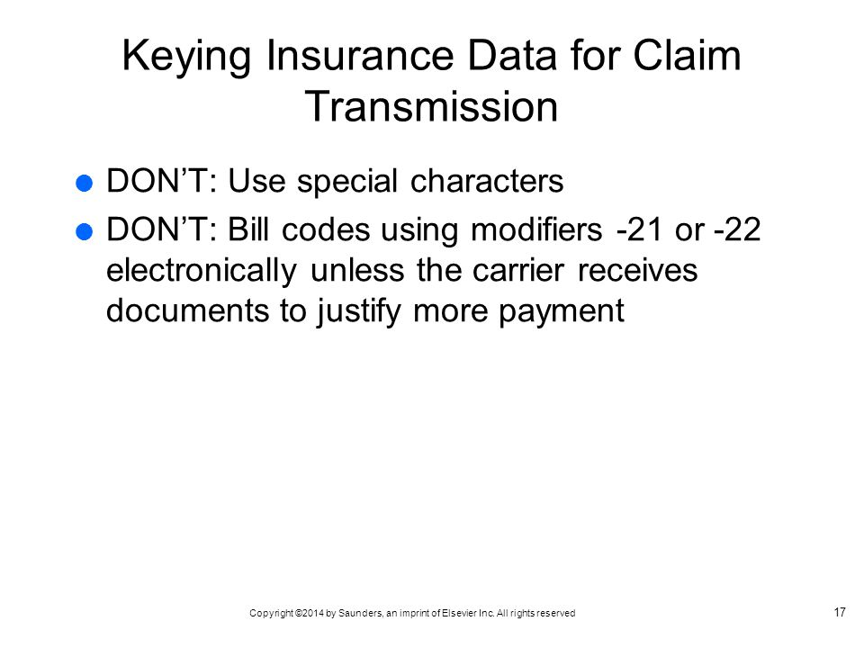 Keying Insurance Data for Claim Transmission
