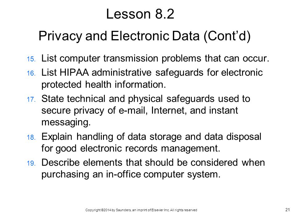 Privacy and Electronic Data (Cont'd)
