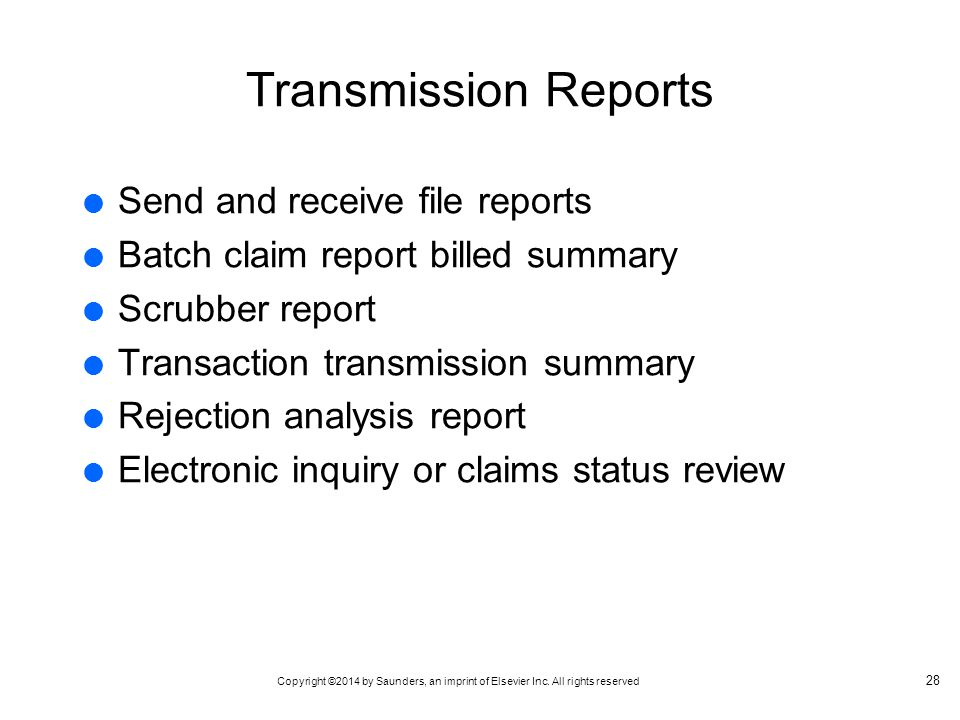 Transmission Reports Send and receive file reports