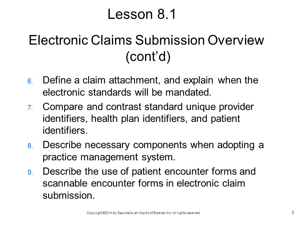 Electronic Claims Submission Overview (cont'd)