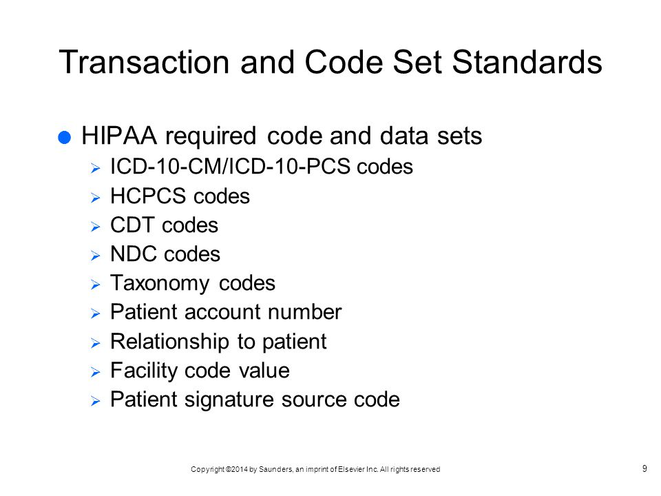 Transaction and Code Set Standards