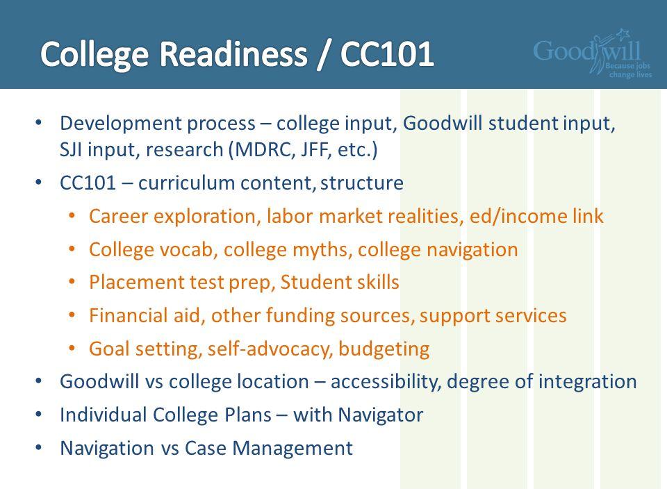 College Readiness / CC101 Development process – college input, Goodwill student input, SJI input, research (MDRC, JFF, etc.)