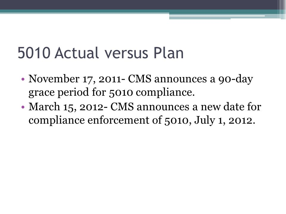 5010 Actual versus Plan November 17, 2011- CMS announces a 90-day grace period for 5010 compliance.