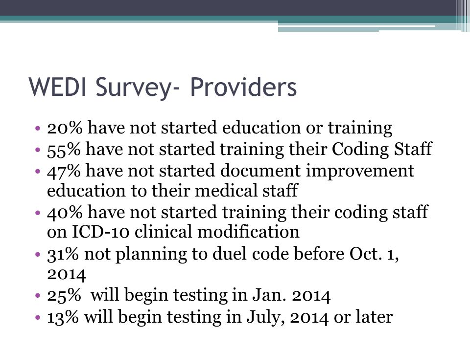 WEDI Survey- Providers