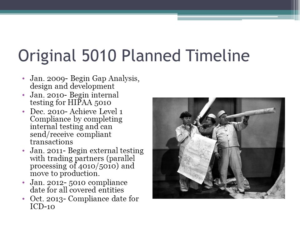 Original 5010 Planned Timeline