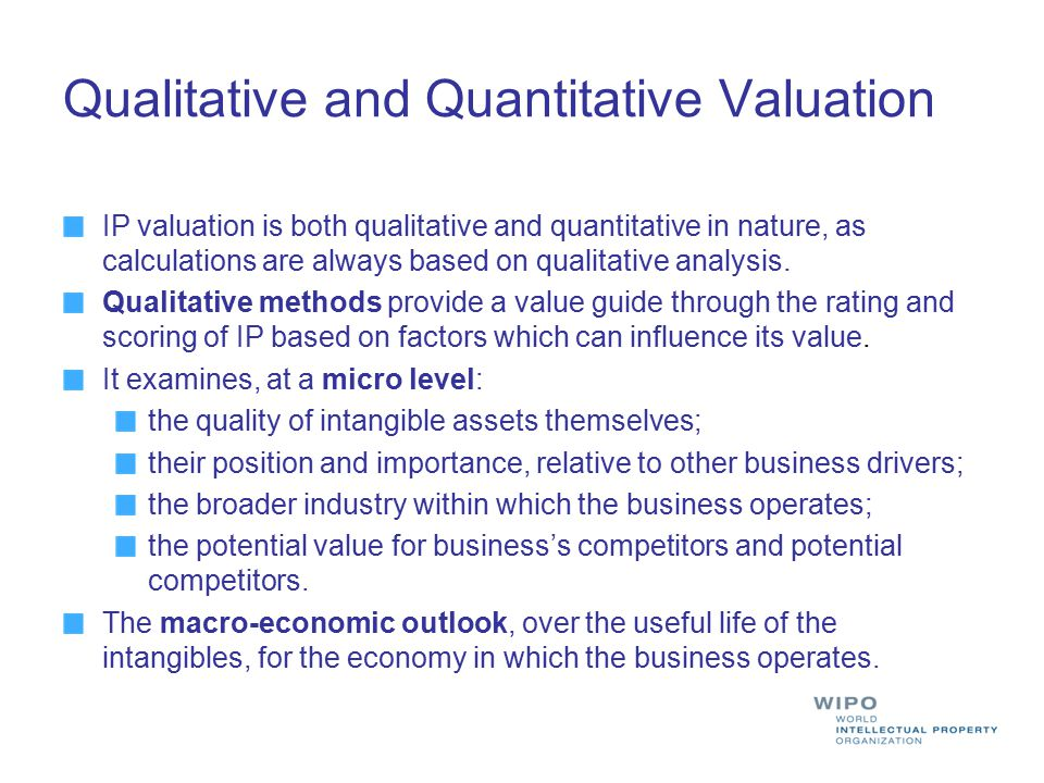 Qualitative and Quantitative Valuation