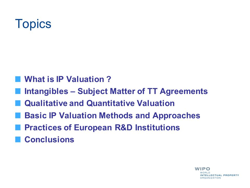 Topics What is IP Valuation