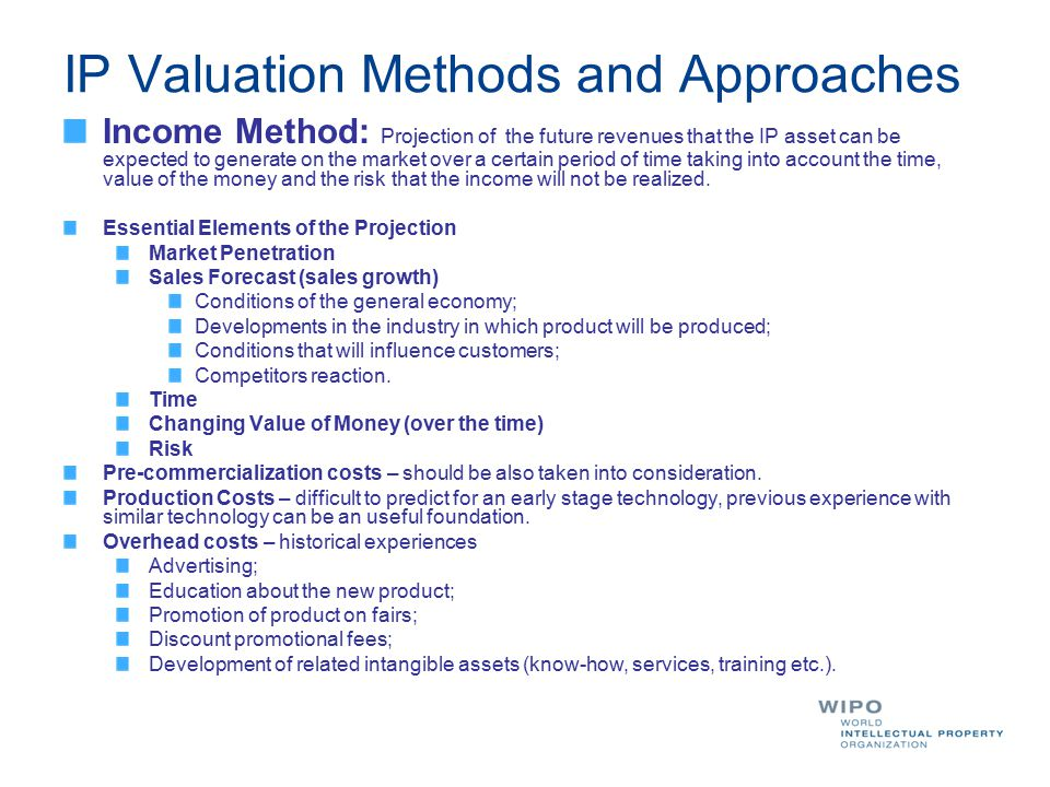IP Valuation Methods and Approaches