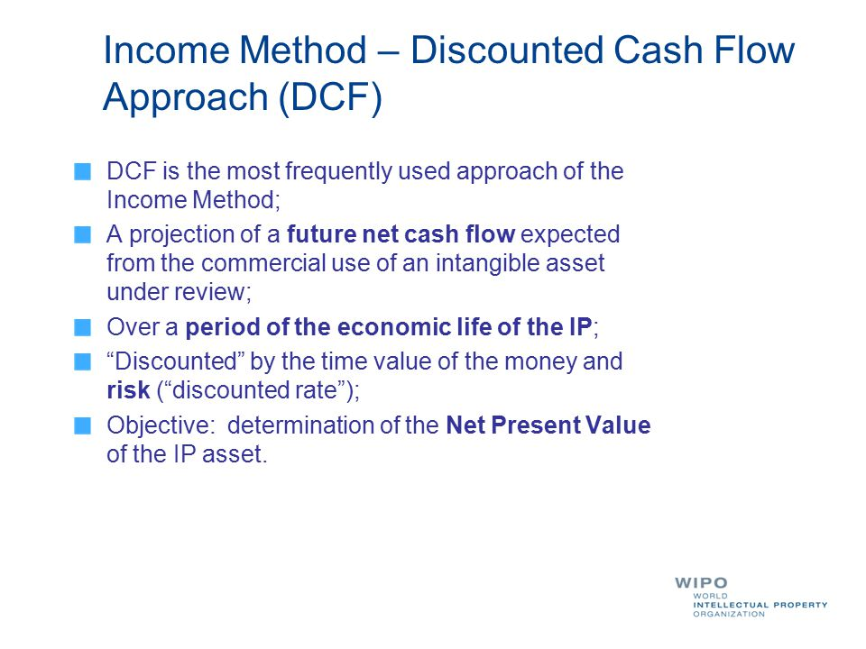 Income Method – Discounted Cash Flow Approach (DCF)