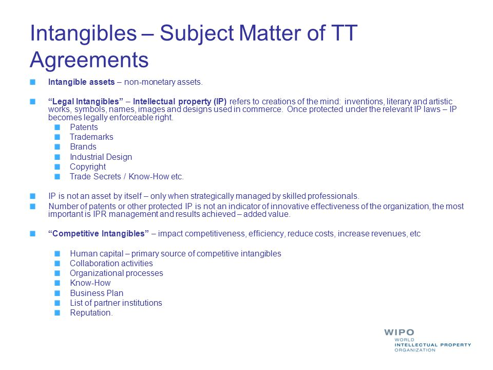 Intangibles – Subject Matter of TT Agreements