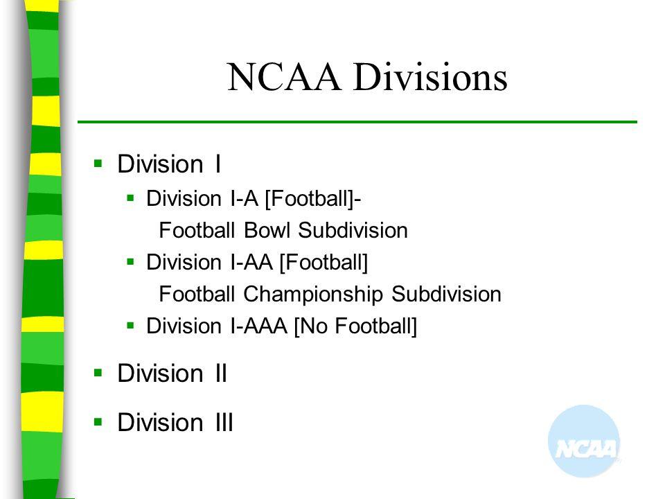 NCAA Divisions Division I Division II Division III
