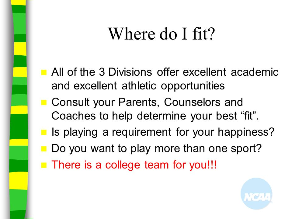 Where do I fit All of the 3 Divisions offer excellent academic and excellent athletic opportunities.