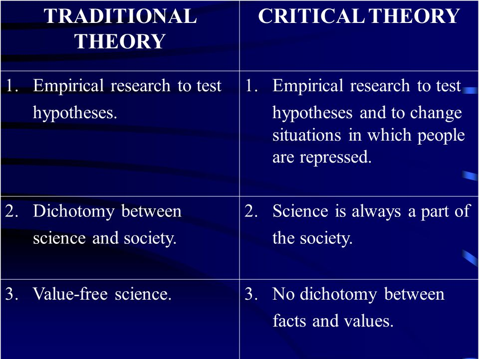 TRADITIONAL THEORY CRITICAL THEORY
