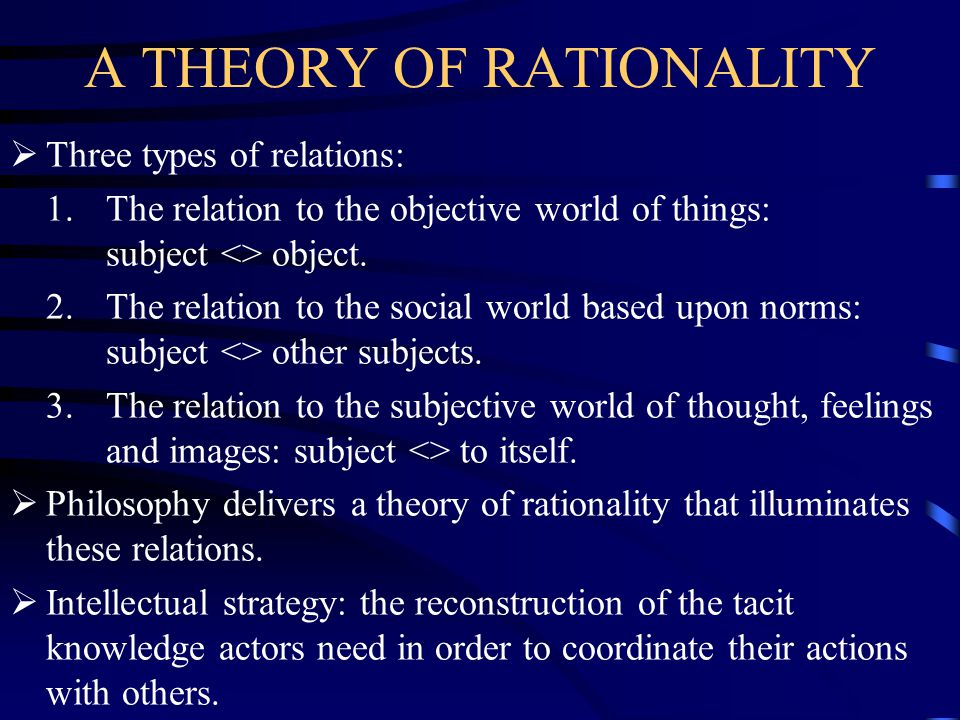 A THEORY OF RATIONALITY