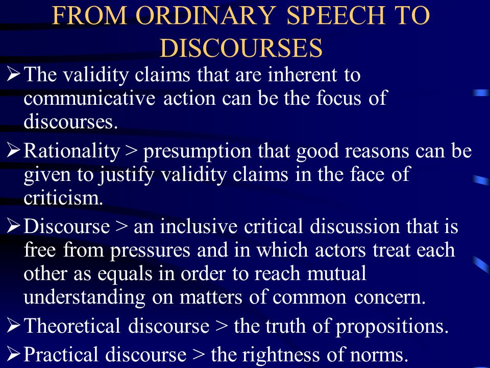 FROM ORDINARY SPEECH TO DISCOURSES