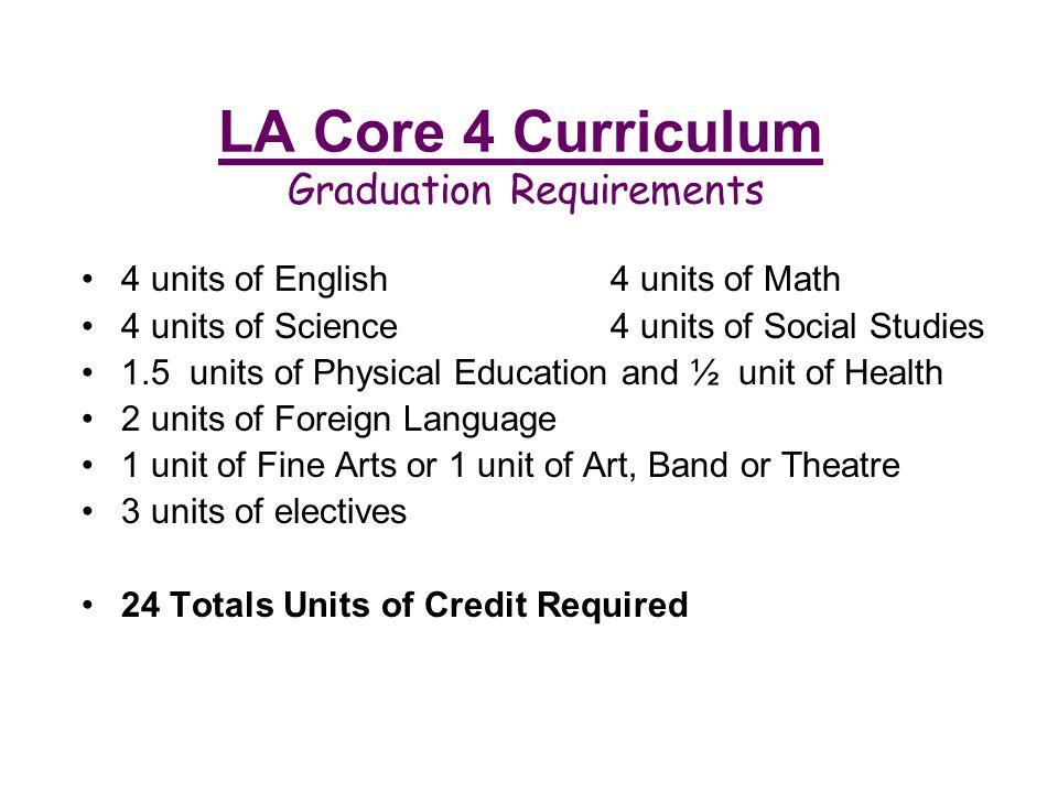 LA Core 4 Curriculum Graduation Requirements