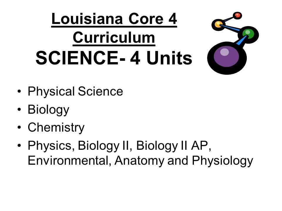 Louisiana Core 4 Curriculum SCIENCE- 4 Units