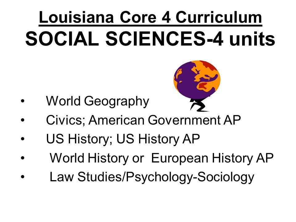 Louisiana Core 4 Curriculum SOCIAL SCIENCES-4 units