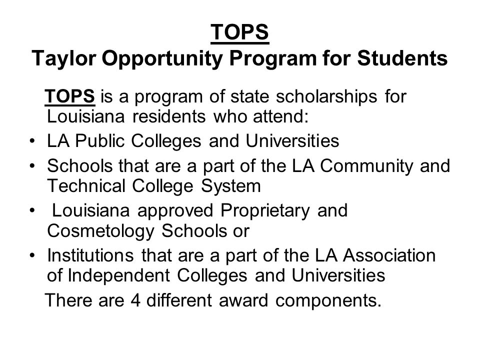 TOPS Taylor Opportunity Program for Students