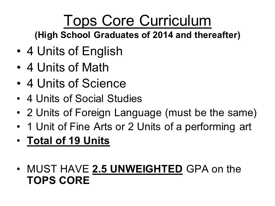 Tops Core Curriculum (High School Graduates of 2014 and thereafter)