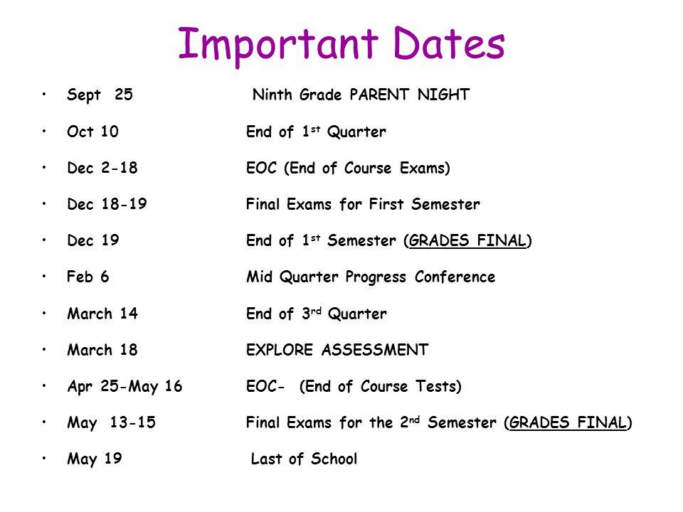 Important Dates Sept 25 Ninth Grade PARENT NIGHT