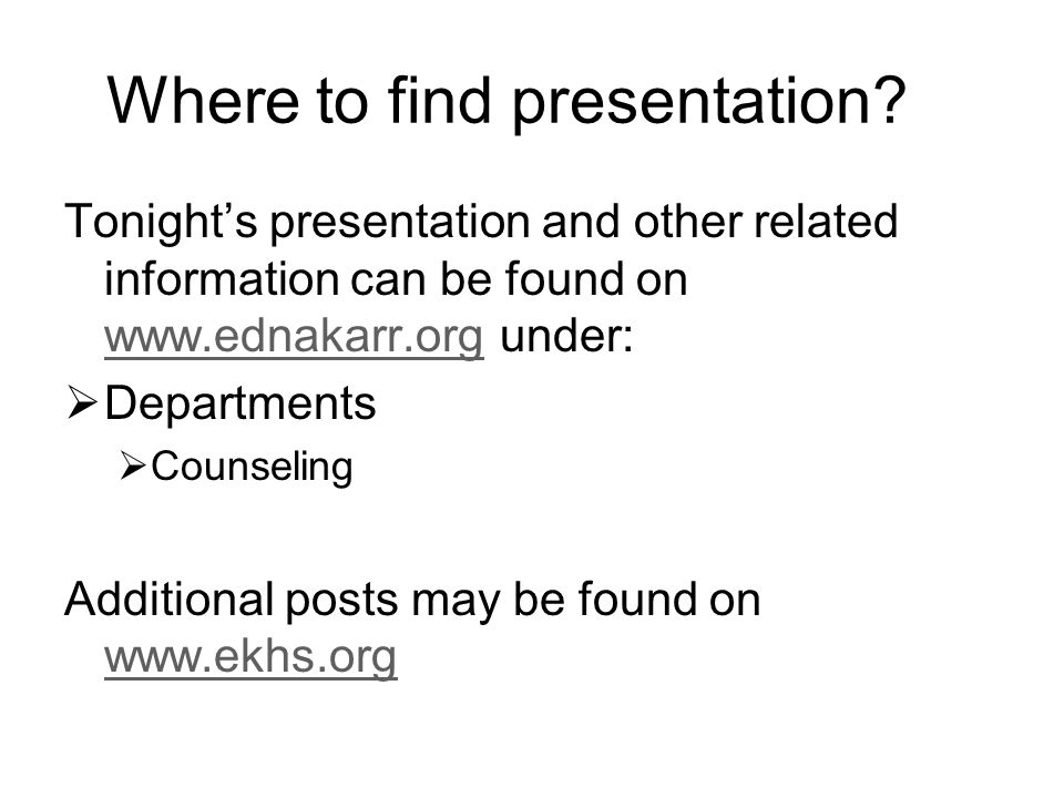 Where to find presentation