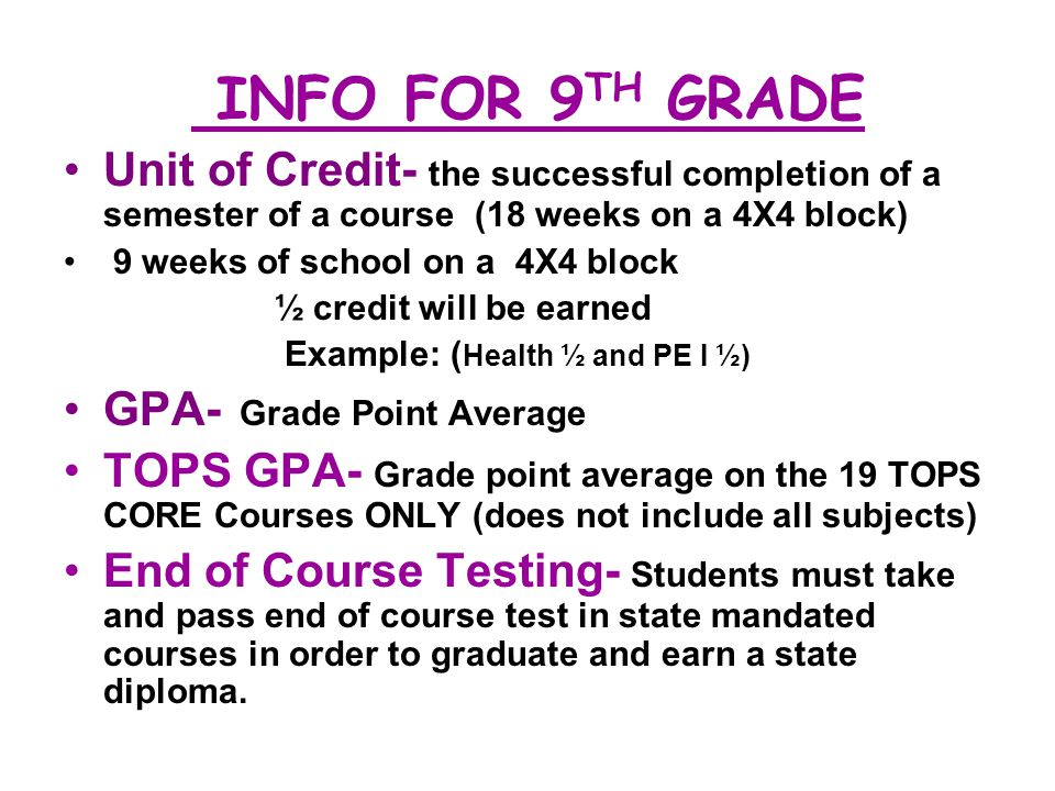 INFO FOR 9TH GRADE Unit of Credit- the successful completion of a semester of a course (18 weeks on a 4X4 block)