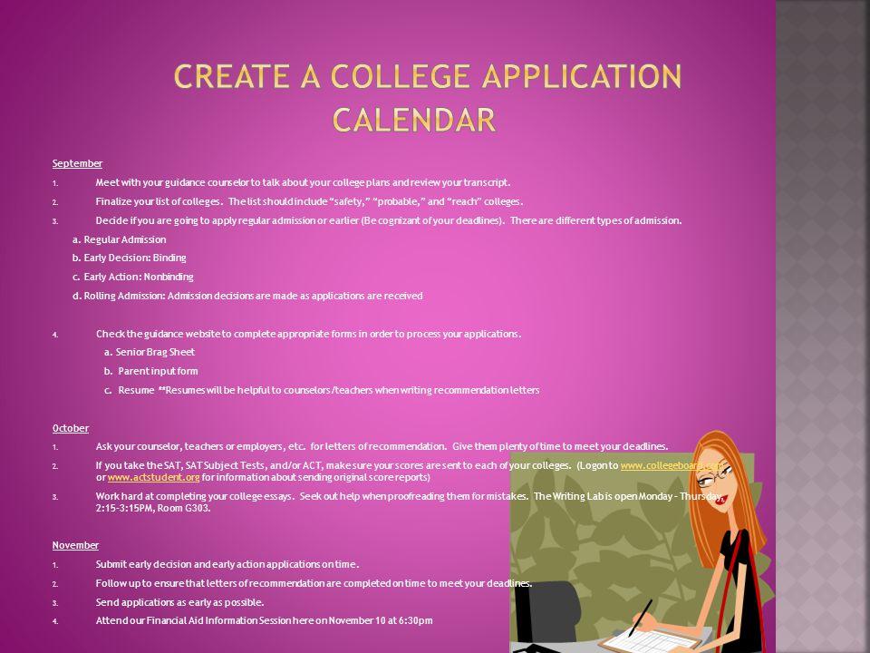 create a college application calendar