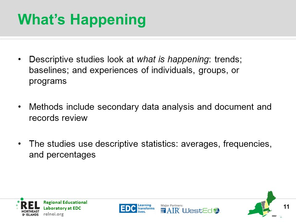 What's Happening Descriptive studies look at what is happening: trends; baselines; and experiences of individuals, groups, or programs.