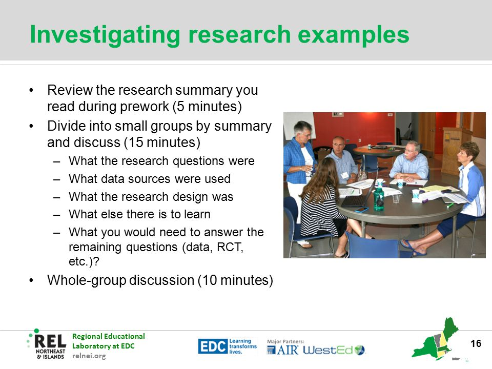 Investigating research examples